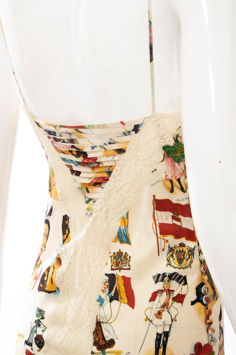 John Galliano for Christian Dior Runway Printed Silk & Lace Dress, Spring 2002 3