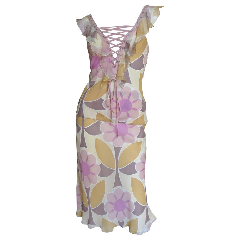 John Galliano for Christian Dior Silk Lace up Top and Skirt For Sale