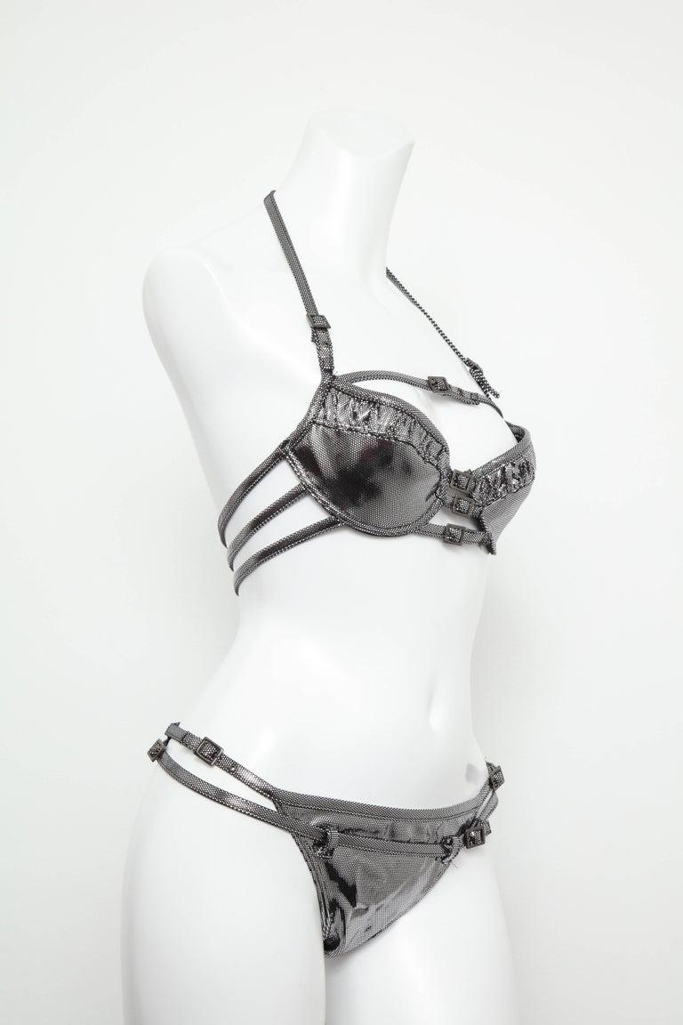Women's John Galliano for Christian Dior Silver Swimsuit Bikini  For Sale