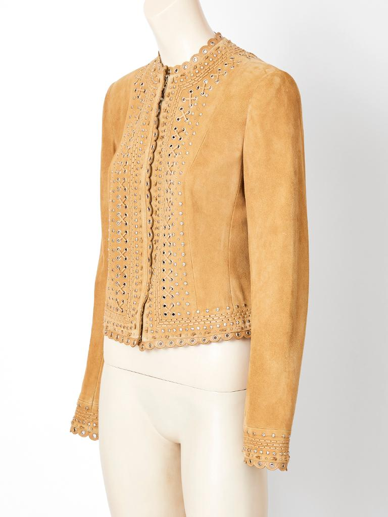 Orange John Galliano for Christian Dior Suede Jacket with Scalloped Detail For Sale