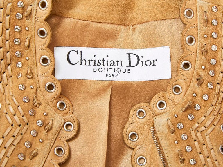 John Galliano for Christian Dior Suede Jacket with Scalloped Detail For Sale 1