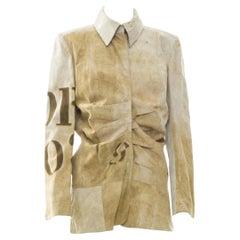 John Galliano for Christian Dior Tan Brown Calf Suede Logo Coat Blazer Jacket