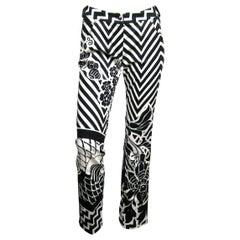 John Galliano for Dior Bondage Pants Black & White Graphic Leather Buckle 1990s