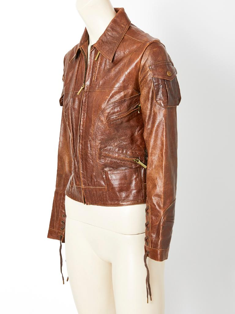 Brown John Galliano For Dior Distressed Leather Jacket For Sale