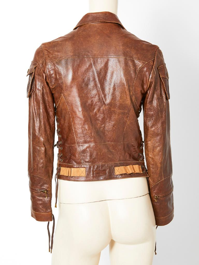 John Galliano For Dior Distressed Leather Jacket For Sale 2