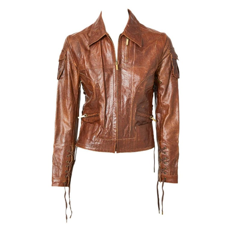 John Galliano For Dior Distressed Leather Jacket For Sale