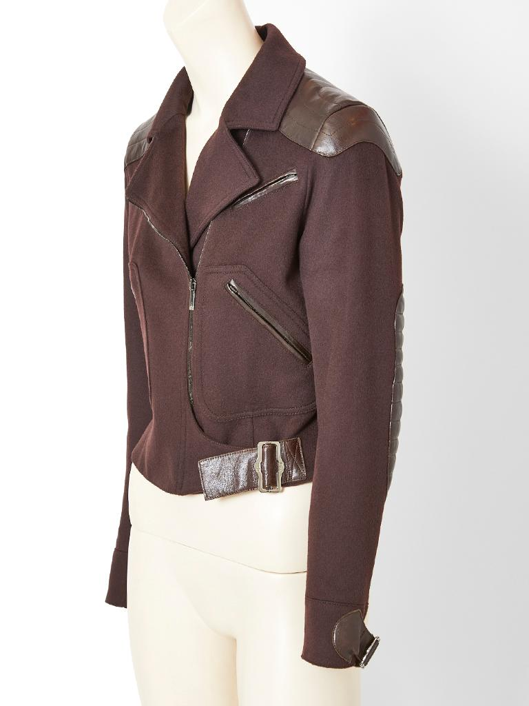 John Galliano, for Christian Dior, chocolate brown, camel hair and lambskin bomber jacket having a wide lapel, notched collar, off center zipper closure, and leather buckle detail at the side hip and cuffs. Soft lambskin is appliqued on at the
