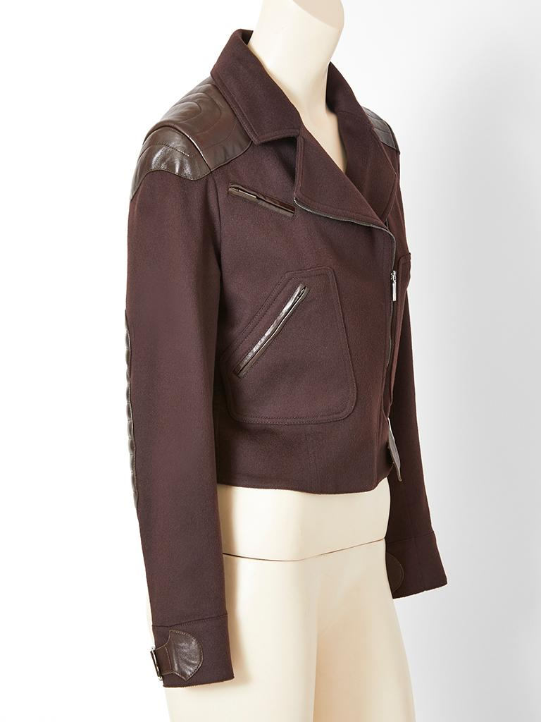 John Galliano for Dior Leather and Wool Bomber Jacket In Good Condition For Sale In New York, NY