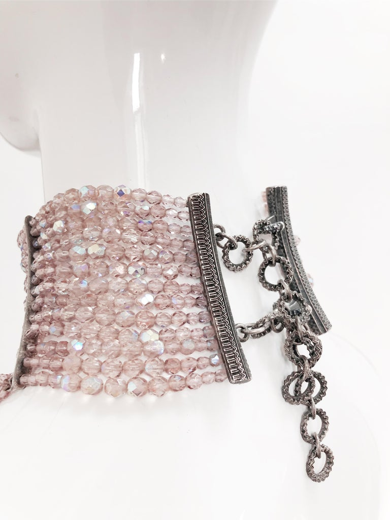 John Galliano for Dior Maasai Collier de Chien Pink Iridescent Choker Necklace In Excellent Condition For Sale In San Francisco, CA