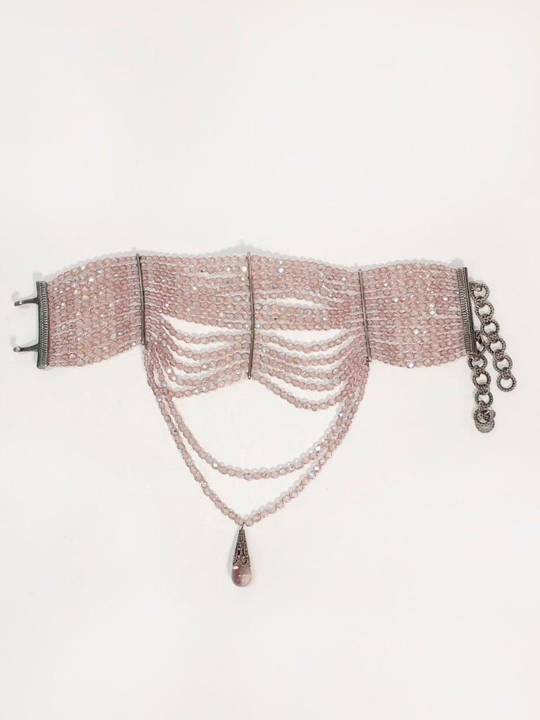 Women's John Galliano for Dior Maasai Collier de Chien Pink Iridescent Choker Necklace For Sale