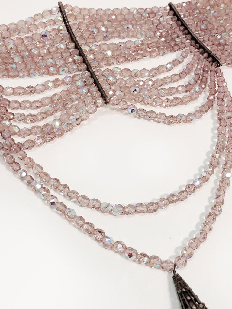 John Galliano for Dior Maasai Collier de Chien Pink Iridescent Choker Necklace For Sale 1