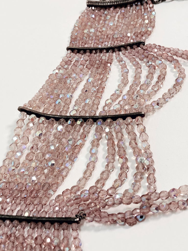 John Galliano for Dior Maasai Collier de Chien Pink Iridescent Choker Necklace For Sale 4