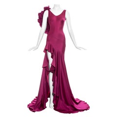 John Galliano fuchsia silk bias cut ruffled evening dress, fw 1995