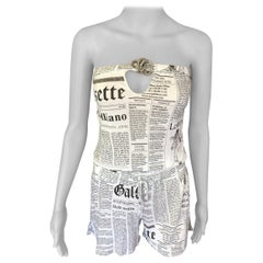 John Galliano Gazette Newspaper Print Romper Jumpsuit Playsuit