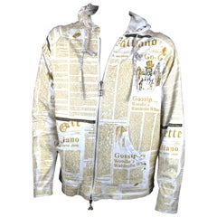 John Galliano Gazette Zip Up with Gold Font Hoodie, SS2011, Size XL