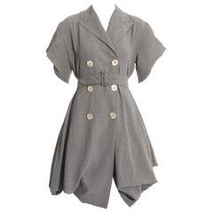 John Galliano grey rayon checked Blanche Dubois bustled coat dress, ss 1988