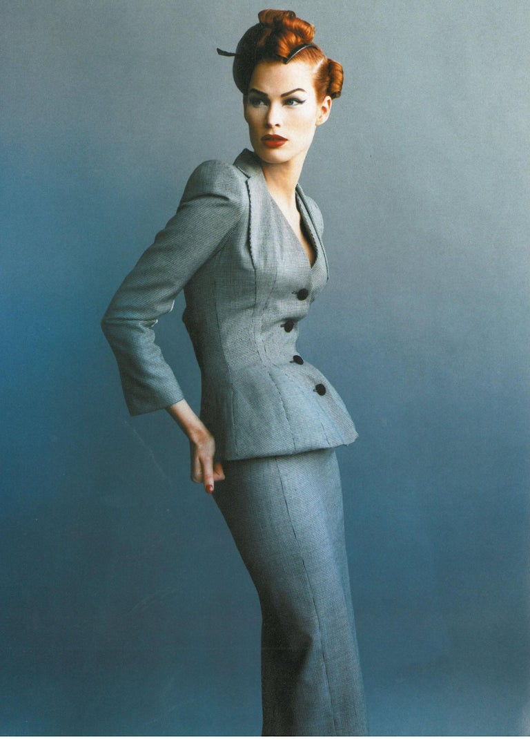Gray John Galliano hound's tooth check wool jacket with padded hips, ss 1995 For Sale