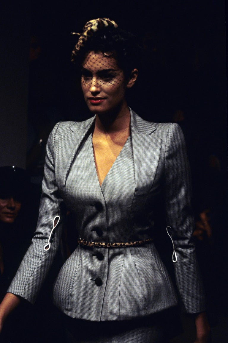 Women's John Galliano hound's tooth check wool jacket with padded hips, ss 1995 For Sale