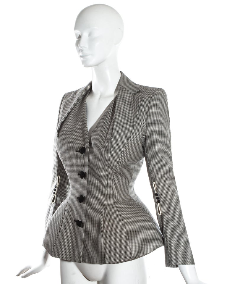 John Galliano hound's tooth check wool jacket with padded hips, ss 1995 For Sale 1