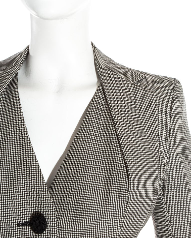 John Galliano hound's tooth check wool jacket with padded hips, ss 1995 For Sale 2