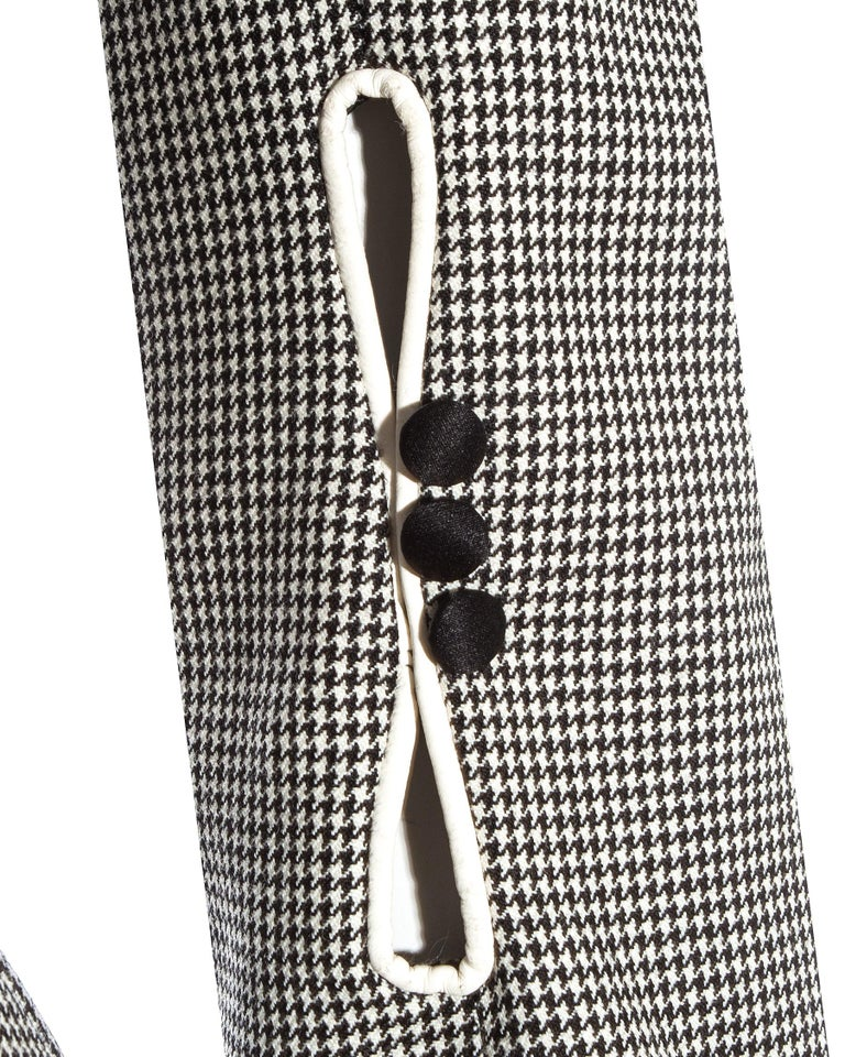 John Galliano hound's tooth check wool jacket with padded hips, ss 1995 For Sale 3