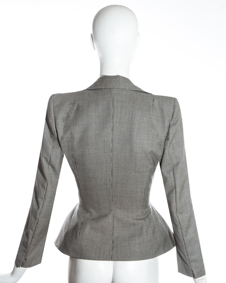 John Galliano hound's tooth check wool jacket with padded hips, ss 1995 For Sale 4