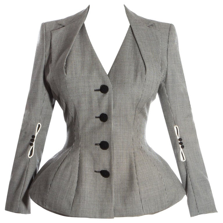 John Galliano hound's tooth check wool jacket with padded hips, ss 1995 For Sale