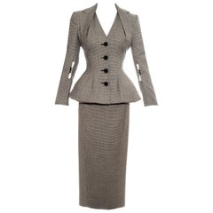John Galliano hounds tooth check wool skirt suit, ss 1995