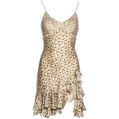 John Galliano Ivory Silk Jacquard Mini Dress With Chantilly Lace, ss 1997