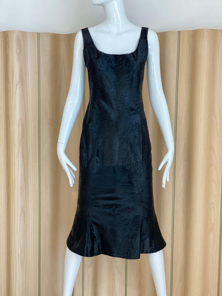 Beautiful and soft black lamb fur John Galliano fitted jacket with mink collar and sleeveless shift dress Jacket fit size 4/ dress fit size 4