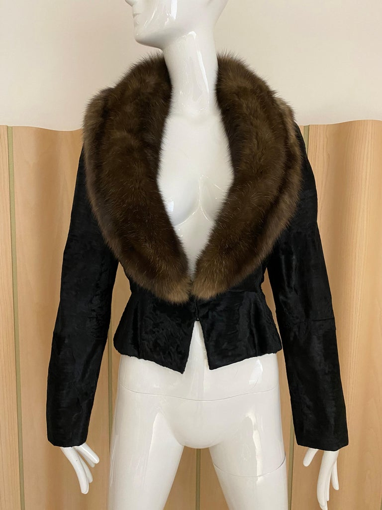 John Galliano Lamb Fur Fitted Jacket and Shift Dress Set In Excellent Condition For Sale In Beverly Hills, CA