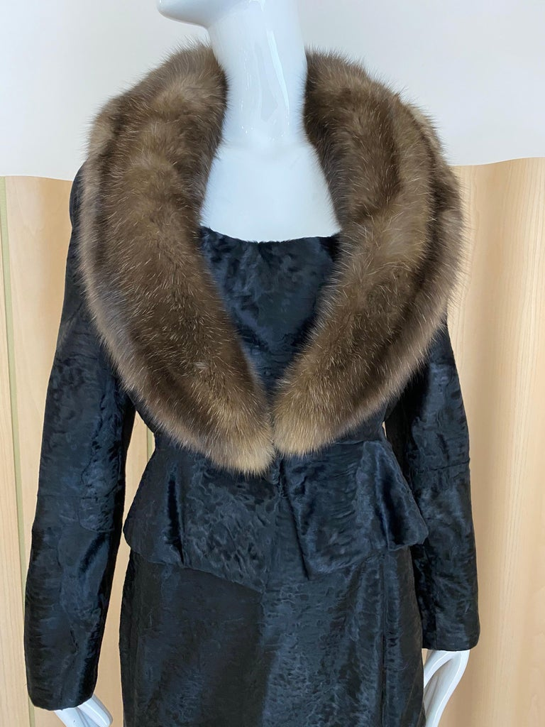 Women's John Galliano Lamb Fur Fitted Jacket and Shift Dress Set For Sale