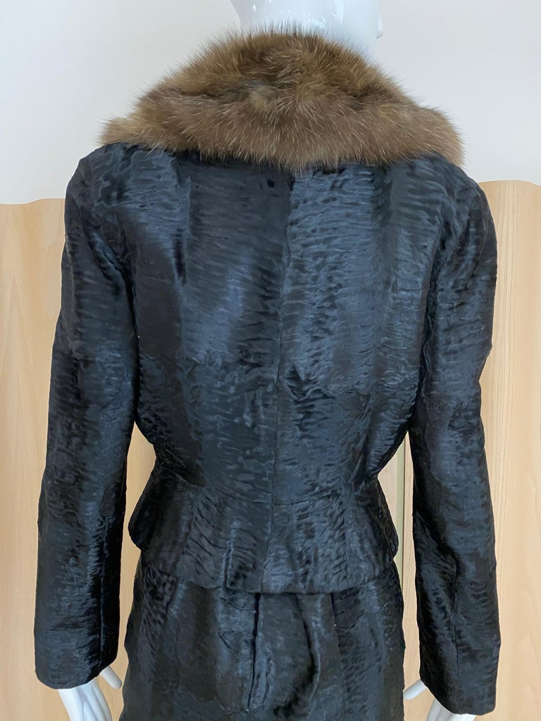 John Galliano Lamb Fur Fitted Jacket and Shift Dress Set For Sale 1