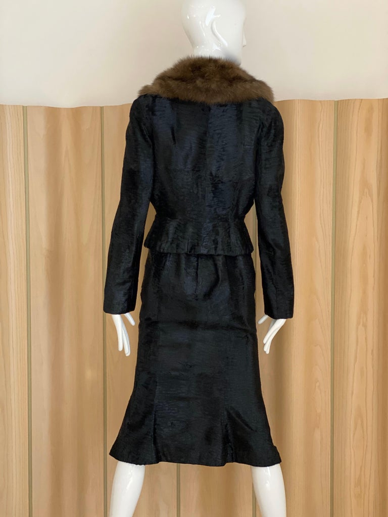 John Galliano Lamb Fur Fitted Jacket and Shift Dress Set For Sale 2