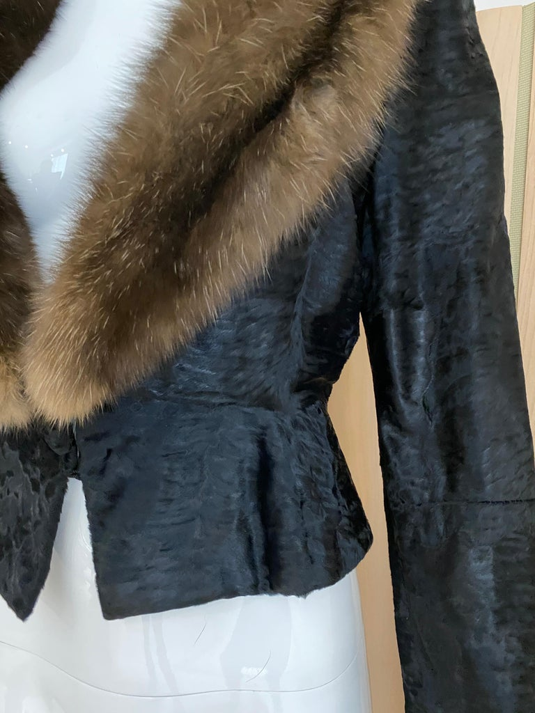 John Galliano Lamb Fur Fitted Jacket and Shift Dress Set For Sale 3