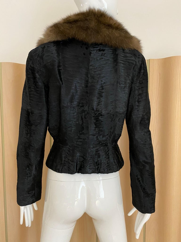 John Galliano Lamb Fur Fitted Jacket and Shift Dress Set For Sale 4