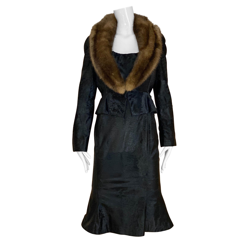 John Galliano Lamb Fur  and sable collar Fitted Jacket and Shift Dress Set