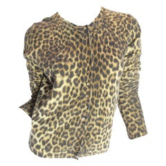 John Galliano Lightweight Leopard Angora and Wool Cardigan