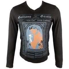 JOHN GALLIANO M Black Gazette News Paper Print Cotton V-Neck Long Sleeve T-shirt