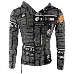 JOHN GALLIANO M Black & White Gazette Newspaper Print Cotton Hooded Pullover