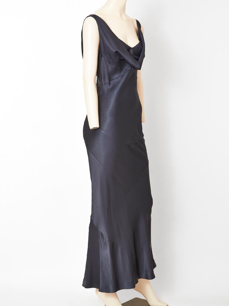 Black John Galliano Midnight Blue  Satin Bias Cut Evening Dress For Sale