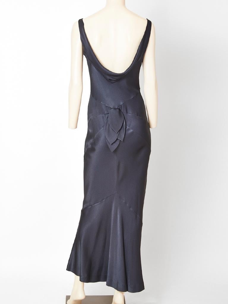John Galliano Midnight Blue  Satin Bias Cut Evening Dress For Sale 1