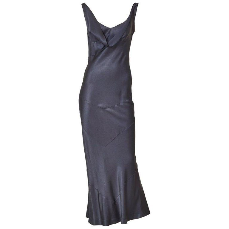 John Galliano Midnight Blue  Satin Bias Cut Evening Dress For Sale