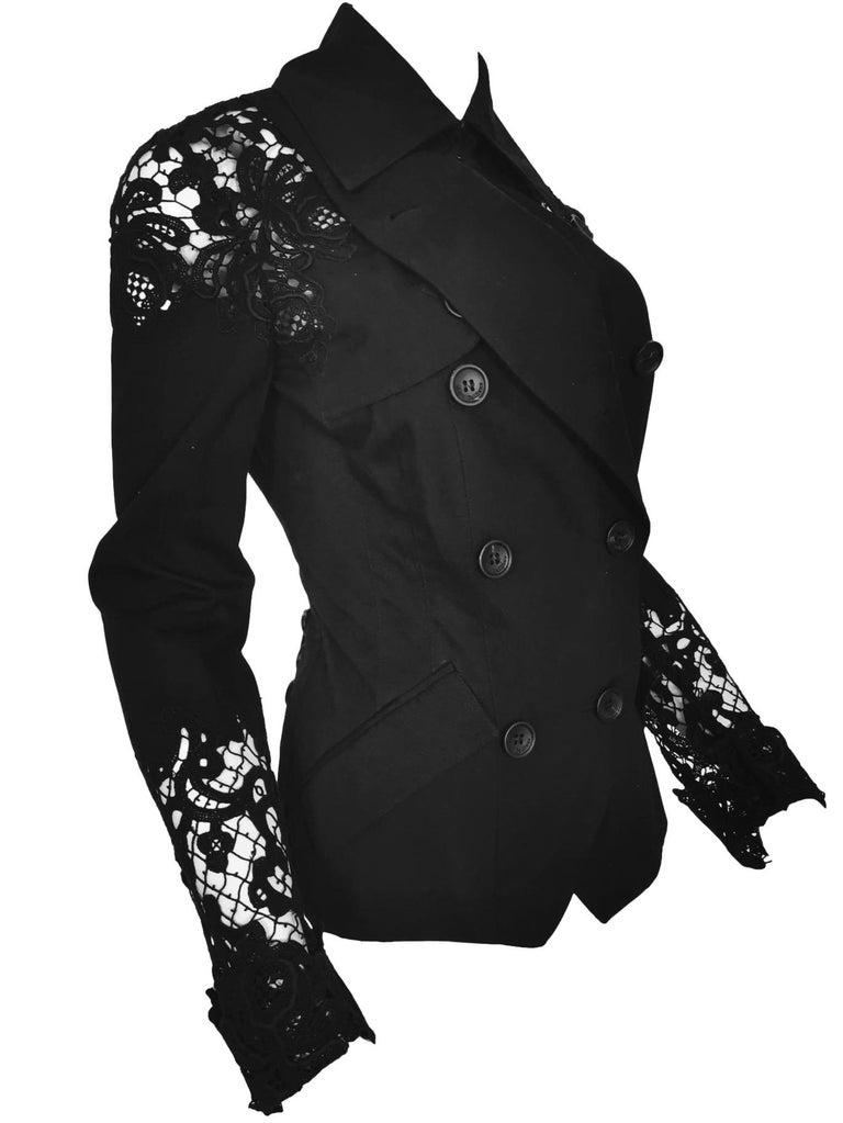 John Galliano  Military Style Tailored Lace Jacket  Size 38