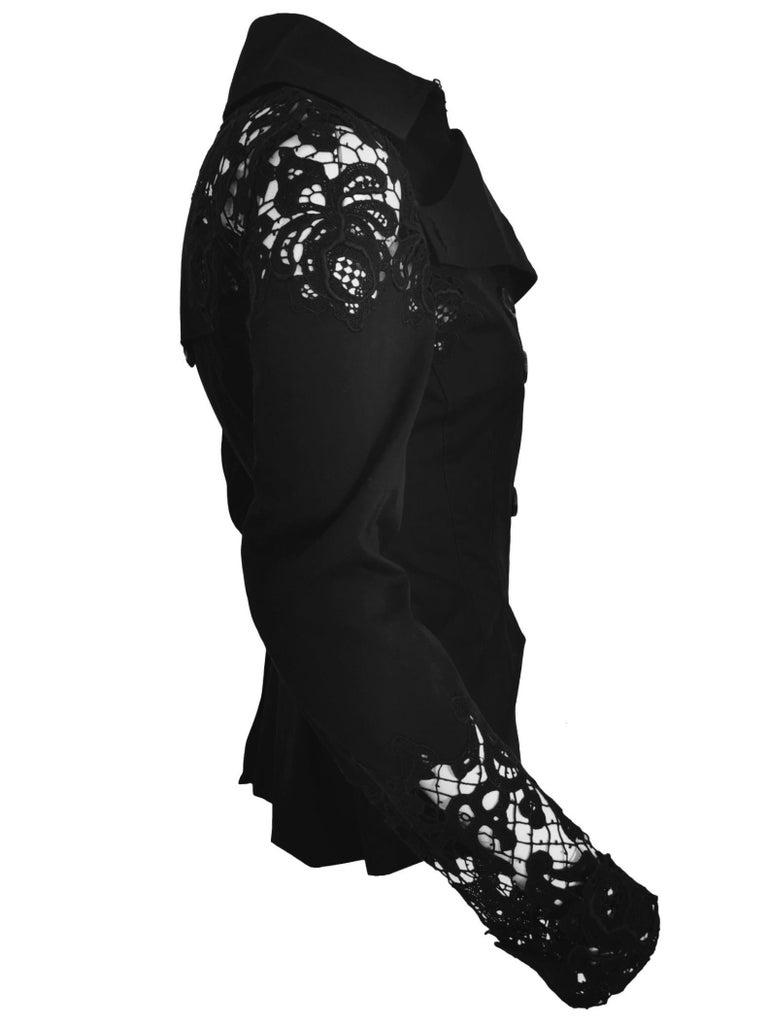 Black John Galliano Military Style Tailored Lace Jacket