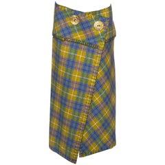 John Galliano multicoloured mohair plaid wrap skirt, fw 2000