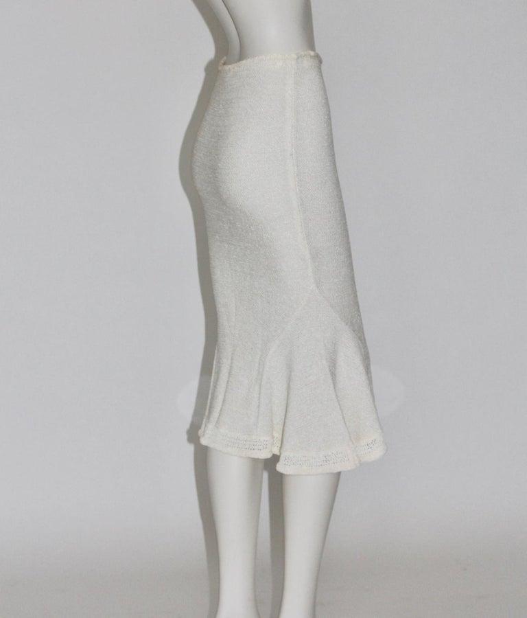 Gray John Galliano Paris Off White Vintage Knit Viscose Pencil Skirt Peplum 1990s  For Sale