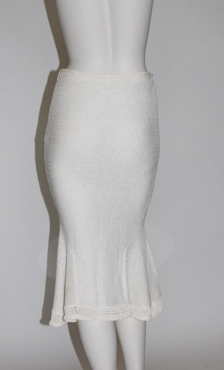 John Galliano Paris Off White Vintage Knit Viscose Pencil Skirt Peplum 1990s  In Good Condition For Sale In Vienna, AT