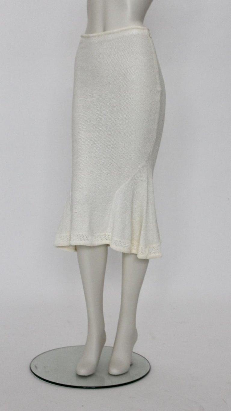 John Galliano Paris Off White Vintage Knit Viscose Pencil Skirt Peplum 1990s  For Sale 1