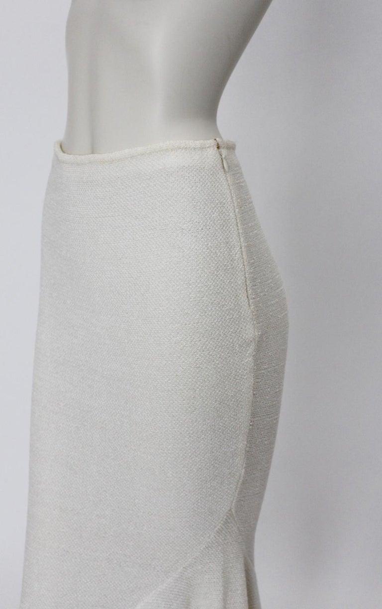 John Galliano Paris Off White Vintage Knit Viscose Pencil Skirt Peplum 1990s  For Sale 2